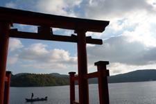 箱根神社の鳥居と芦ノ湖の画像001