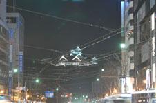 ライトアップされた熊本城の天守閣の画像001